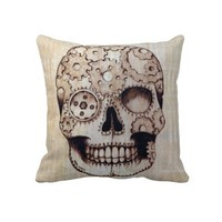 Steampunk Sugar Skull Pillow
