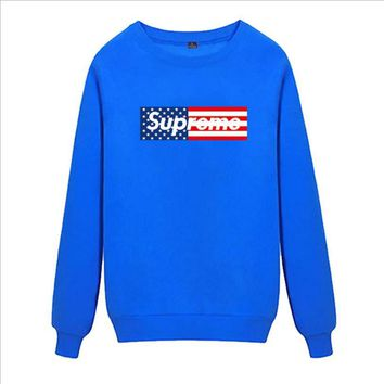 Supreme Round collar female loose couple costume Sweater Flage Blue