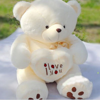 Stuffed Plush Toy  Holding LOVE Heart Big Plush Teddy Bear Soft Gift for Valentine Day Birthday Girls'