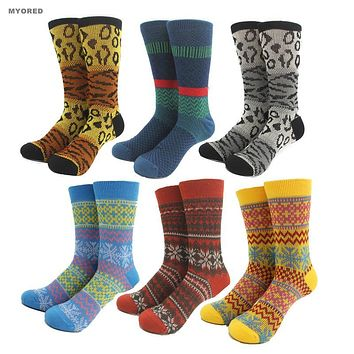 men women wool socks high quality jacquard knitting Leopard stripes flower deer snowflake style warm christmas winter socks