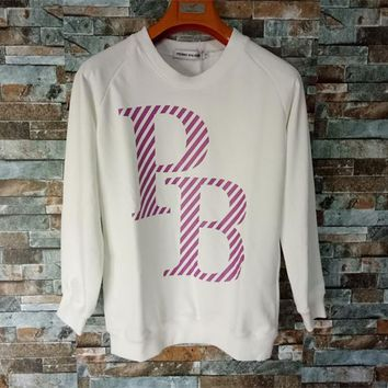 """Pierre Balmain"" Unisex Casual Letter Print Long Sleeve Cotton Sweater Couple Loose Pullover Tops"