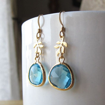 Crystal Blue Gold Earrings - simple chic everyday wear