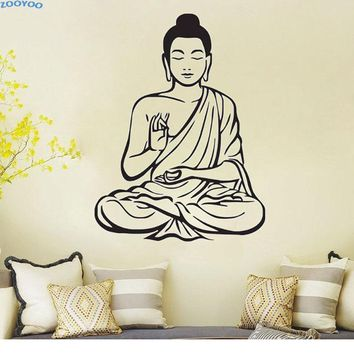 Meditating Buddha Wall Sticker Home Decor Removable Vinyl Wall Art Decal For Living Room