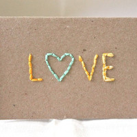 "Kraft Ombre Yellow Mint Green Mini Blank Notecard Eco (2 1/2 x 3 1/2) ""love"" heart"