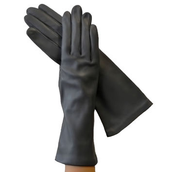 Gray 4-Inch Italian Leather Gloves, Lined in Silk.