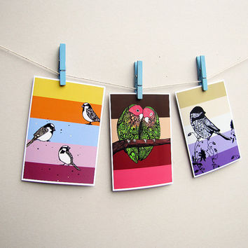Bird Zentangle Art Greeting Cards Set of 3 by MayhemHere on Etsy
