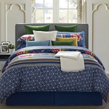 EverRouge Floral 8-pc. Comforter Set - Cal. King (Blue)