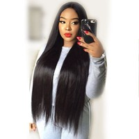 Cool 250% Density Straight Lace Front Human Hair Wigs For Women Black Color Pre Plucked Brazilian Remy Hair Full 13X4 Lace WigAT_93_12