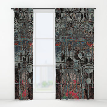 Mysterious Overlay Abstract Window Curtains by Sheila Wenzel