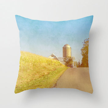 Golden Yellow Cornfield and Barn with Blue Sky - Throw Pillow Cover - Country, Barn, Silo
