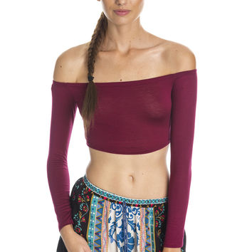 Off the Shoulder Crop Top - Burgundy Ed