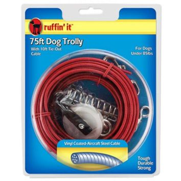 Ruffin' It 29675 Heavyweight Dog Trolley 75' with 10' Cable Tie Out, 1700 Lb
