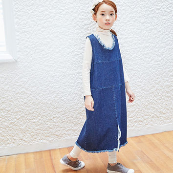 jeans little teenage girl dress children autumn winter clothing denim sleeveless maxi long kids dresses for girls blue clothes