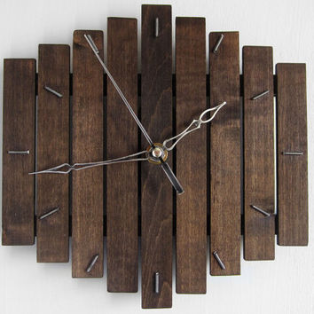 Wooden wall hanging clock wood dark coffee old silent movement