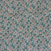 Green & Orange Flowers Vintage Calico Fabric - 3 YARDS, 2 INCHES