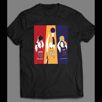 G.O.A.T THE GREATEST OF ALL TIME MICHAEL JORDAN, KOBE BRYANT AND LEBRON JAMES SHOOT AROUND T-SHIRT