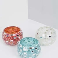 Mosaic And Mirrored Candle Holder Set