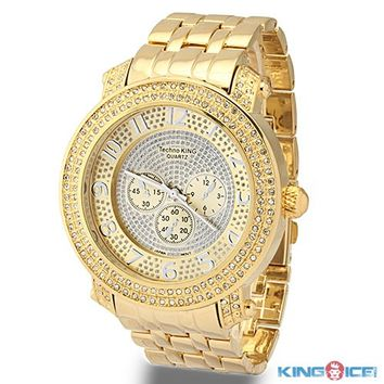 Mens Gold Plated White CZ Bling Watch - Gucci Mane Jewelry - Celebrity Jewelry