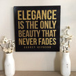 "Audrey Hepburn Quote - Wood Sign Decoration - ""Elegance is the only beauty that never fades"" - Girls Room Decor"