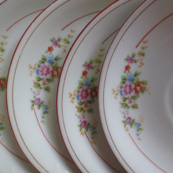 Set of 4 Vintage Floral China Saucers.  Made by Kikusui.  Bridal Shower, Tea Party Plates