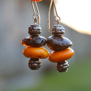 Handmade Amber & Coral Earrings Boho Style African Dangle Orange Brown Old Silver Antique Style Indian Summer