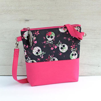 Pink shoulder bag, skull flower bag, crossbody bag pink, bright pink with black, medium project bag, shoulder project bag, zipper bag fabric