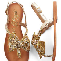 ModCloth Luxe Twinkling Trimmings Sandal in Gold