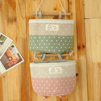 Poka Dot Lace Storage Cotton Linen Waterproof Bags 1 PCS [6377498500]