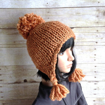 Chunky Knit Ear Flap Hat, Copper Pom Pom Beanie with Tasseled Ear Flaps, Amber Hat, Winter Helmet Style Beanie, Copper Trapper Hat