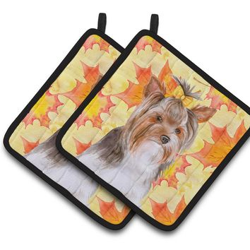 Yorkshire Terrier #2 Fall Pair of Pot Holders BB9984PTHD