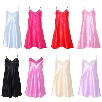 Silk Cool Nightgown Pajamas V Neck Sleepwear