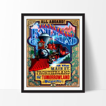 Rail Road at Main Street, Disneyland Poster