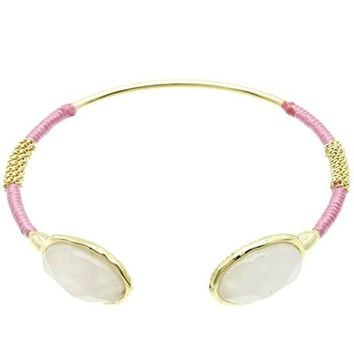 Pink Double Faceted Lucite Metal Cuff Bracelet