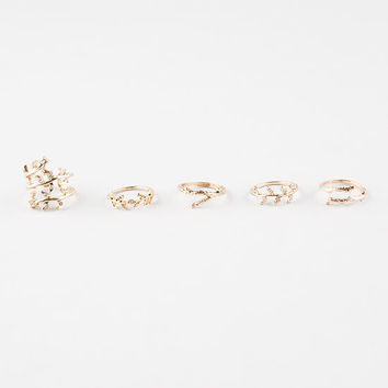 FULL TILT 5 Piece Rhinestone Leaf Rings | Rings
