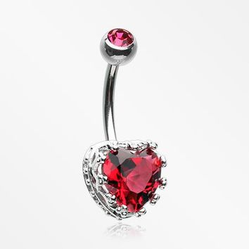 Princess Crown Prong Heart Sparkle Belly Button Ring