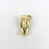 Vintage 14K Yellow Gold Teddy Bear Charm Pendant With Articulated Arms and Legs Movable Charm Fine Jewelry