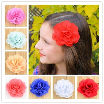 15pcs/lot 3 inch Chiffon Fabric Flower Hair Clips Rolled Rose Hairpins For Girls Hair Accessories 28 Colors Free Shipping FC111