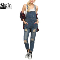 SheIn Women Rompers and Jumpsuits for Summer New Casual Sleeveless Straps Ripped Blue Denim Pockets Overall Jumpsuit