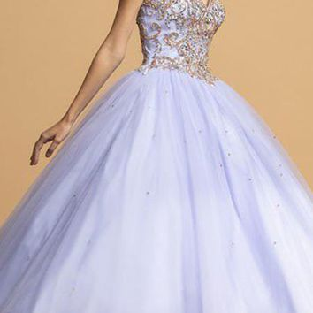 Strapless Beaded Long Quinceanera Dress Perry Blue