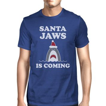 Santa Jaws Is Coming Mens Royal Blue Shirt