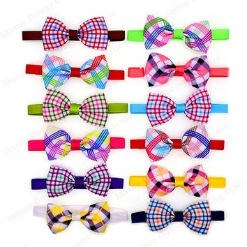 New 100pcs Pet Dog Cat Neck Accessories Plaid style Pet Dog Cat Bowties Grid Dog Cat Ties Bow Tie  Pet &Cat Grooming Supplies