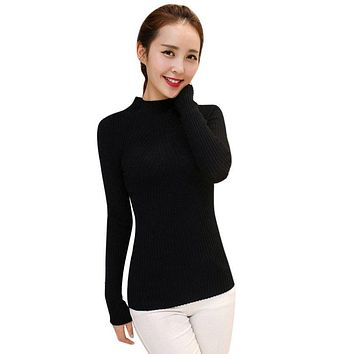 Spring Autumn Winter Women Sweater High Elastic Solid Turtleneck Sweater Women Slim Sexy Tight Bottoming Knitte