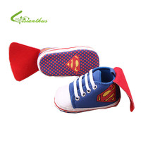 New Superman Baby Shoes 2016 New Fashion Batman Cartoon Toddler Infants Shoes 11cm 12cm 13cm Baby Boys Shoes First Walkers