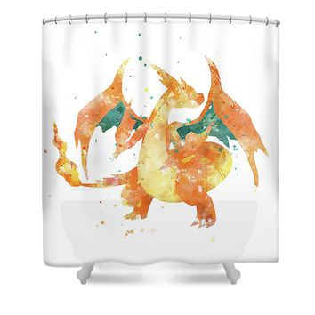 Pokemon Charizard Shower Curtain