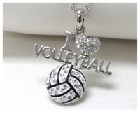 """I Love Volleyball"" Crystal Accented Charm Necklace"