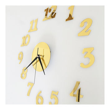 Digit Mirror Casual Wall Clock Deocration   golden