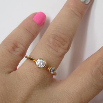 Sterling Silver Two Stone Ring with CZ, Two Stone Promise Ring, Unique Promise Ring, Gold Plated Ring, CZ Stacking Ring, Art Deco Ring