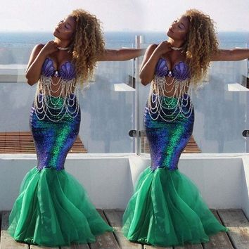 Girls Adult Women's Mermaid Tail Full Skirt - Free Shipping