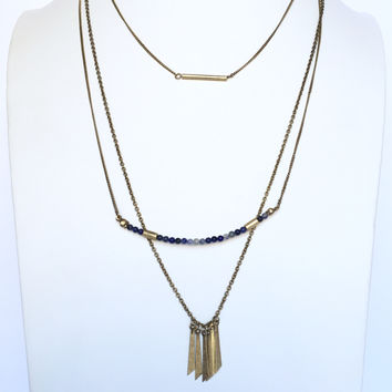 Hedge Fund Layered Necklace In Blue