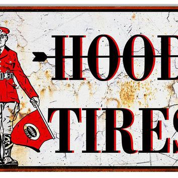 Large Distressed Hood Tire Reproduction Metal Sign 16″x24″